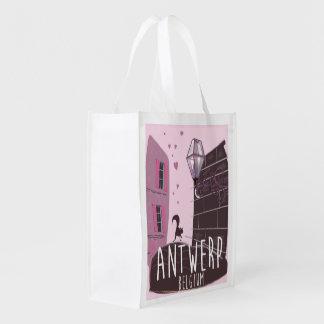 Antwerp, Belgium Travel poster Reusable Grocery Bag