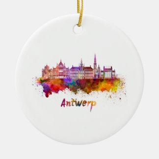 Antwerp skyline in watercolor ceramic ornament