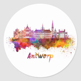 Antwerp skyline in watercolor classic round sticker