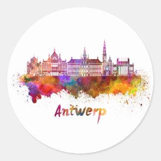 Antwerp skyline in watercolor classic round sticker