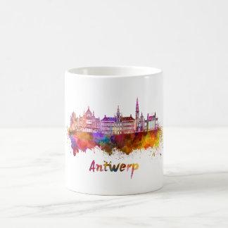 Antwerp skyline in watercolor coffee mug