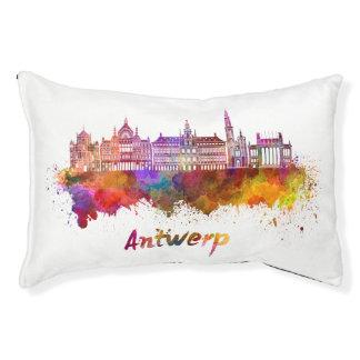 Antwerp skyline in watercolor pet bed