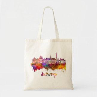 Antwerp skyline in watercolor tote bag