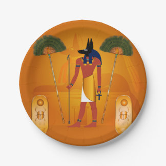 Anubis, ancient Egyptian 7 Inch Paper Plate