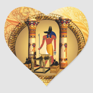 Anubis, ancient Egyptian god of the dead rituals Heart Sticker