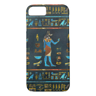 Anubis Egyptian  Gold, Blue and Red glass Case-Mate iPhone Case