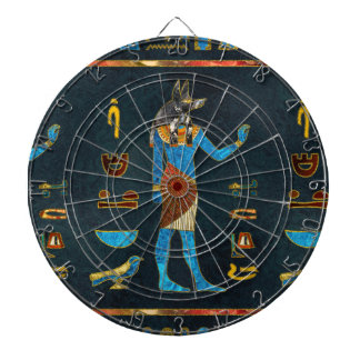 Anubis Egyptian  Gold, Blue and Red glass Dartboard