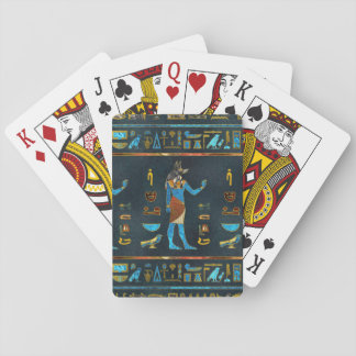 Anubis Egyptian  Gold, Blue and Red glass Playing Cards