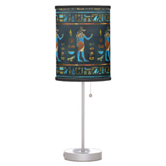 Anubis Egyptian  Gold, Blue and Red glass Table Lamp