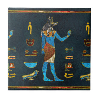 Anubis Egyptian  Gold, Blue and Red glass Tile