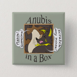 Anubis In A Box (Closed Eyes) 2 Inch Square Button