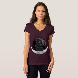 Anubis Moon Ladies Jersey V-Neck T-Shirt