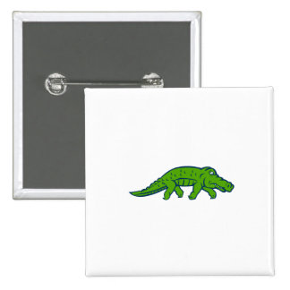 Anxious Alligator Tiptoing Retro 2 Inch Square Button