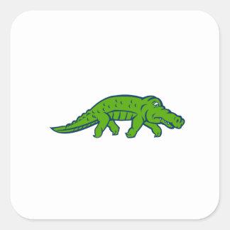 Anxious Alligator Tiptoing Retro Square Sticker