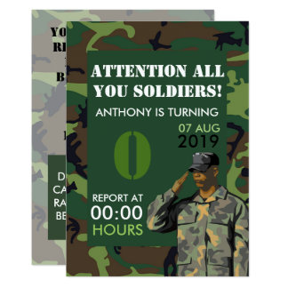 Any age Army themed Party Birthday Invitation