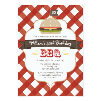"""ANY AGE BBQ BIRTHDAY PARTY 5"""" X 7"""" INVITATION CARD"""