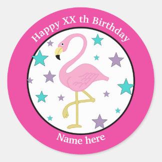 Any Age Birthday Flamingo Personalized Classic Round Sticker