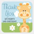 Any Age Birthday Giraffe Thank You Stickers