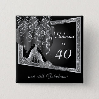 Any Age Birthday in Black & Silver Glitter 2 Inch Square Button