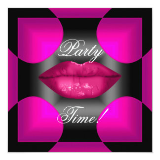 """Any Age Birthday Party Abstract Pink Lips 5.25"""" Square Invitation Card"""