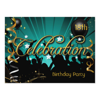 "Any Age Birthday Party Celebration Teens or Adults 5.5"" X 7.5"" Invitation Card"