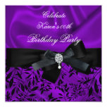 "Any Age Birthday Party Purple Damask Black White 2 5.25"" Square Invitation Card"