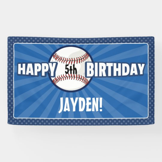 Any Age Blue Baseball Birthday Banner