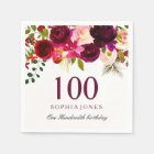 Any Age Burgundy Floral Boho 100th Birthday Party Napkin
