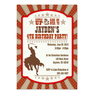 Any Age Cowboy Rodeo Birthday Party Invitation