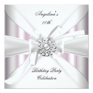 """Any Age Elegant Pink White Silver Birthday Party 5.25"""" Square Invitation Card"""
