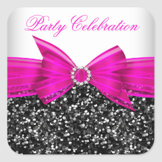 Any Age Luxury Glitter Hot Pink Bow Sticker