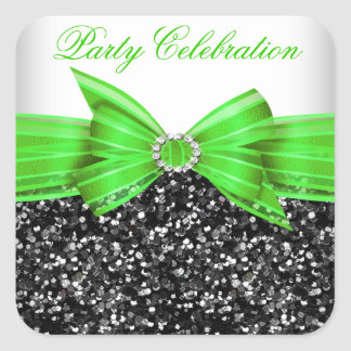 Any Age Luxury Glitter Lime Bow Sticker