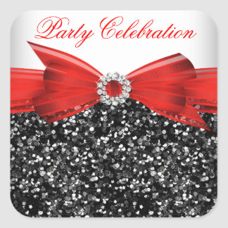 Any Age Luxury Glitter Red  Bow Sticker