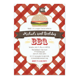 """ANY AGE SURPRISE BBQ BIRTHDAY PARTY 5"""" X 7"""" INVITATION CARD"""