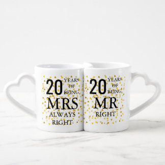 Any Anniversary Gold Hearts Confetti Customisable Coffee Mug Set