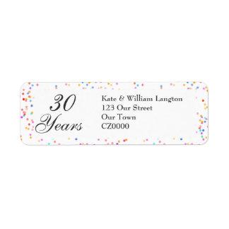 Any Anniversary Romantic Rainbow Confetti Return Address Label