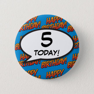 Any Birthday Age Comic Book Pop Art 2 Inch Round Button