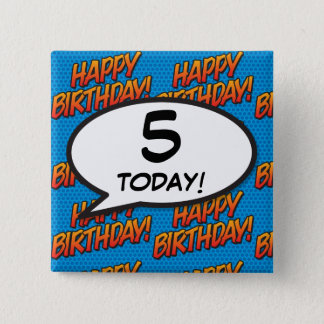 Any Birthday Age Comic Book Pop Art 2 Inch Square Button