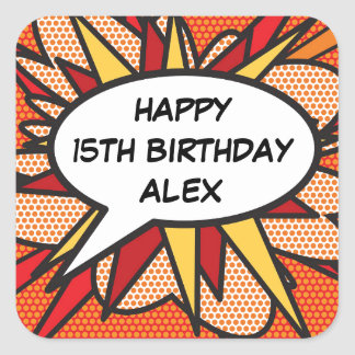 Any Birthday Personalised Comic Book Pop Art Square Sticker