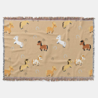 Any Color Background Cute Horse and Pony Pattern Throw Blanket
