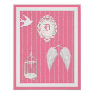 Any Color Background - Feather Wings Personalized Poster