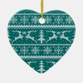 Any Color Background - Holiday Sweater Pattern Ceramic Ornament