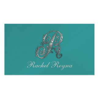 """Any Color Background with """"Silver"""" Fancy Initial Business Card Templates"""