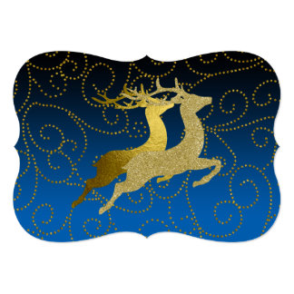 Any Color Black Ombre Two Gold Reindeer Holiday Card