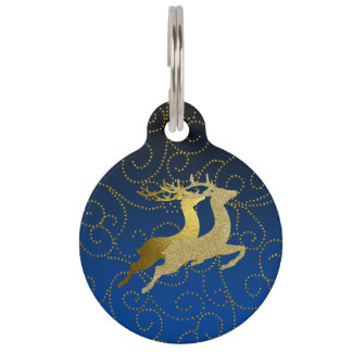 Any Color Black Ombre Two Gold Reindeer Holiday Pet Name Tag
