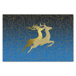 Any Color Black Ombre Two Gold Reindeer Holiday Tissue Paper