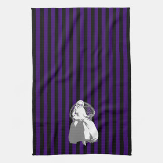 ANY COLOR! Black Stripe Skeleton Doll Tea Towel