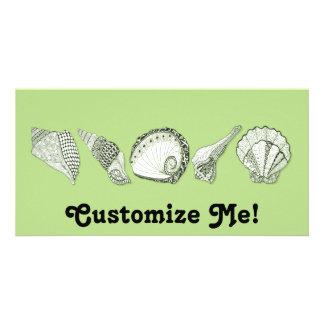 Any Color Hand Drawn Seashells Photo Card