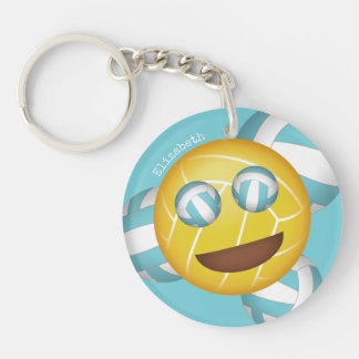 any color happy smiley volleyball emoji keychain