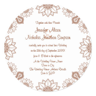 Any Color Henna Mandala Style Pattern Wedding Card